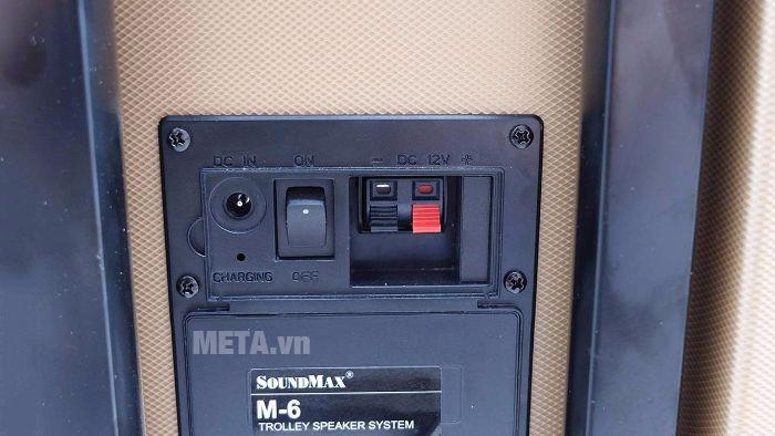 Loa SoundMax M-6 thiết kế ngõ sạc và công tắc nguồn phía sau