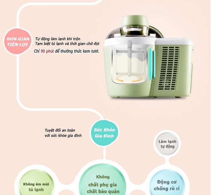 Máy làm kem tươi Tiross TS-9090 giúp bạn làm kem không có chất bảo quản.