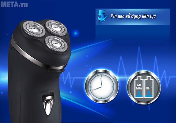 Hình 5 - Máy cạo râu Flyco FS-330VN cho thời gian sạc 8 giờ, sử dụng liên tục 60 phút