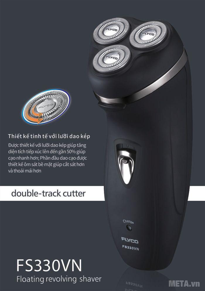 Máy cạo râu Flyco FS-330VN thiết kế tinh tế với lưỡi dao kép