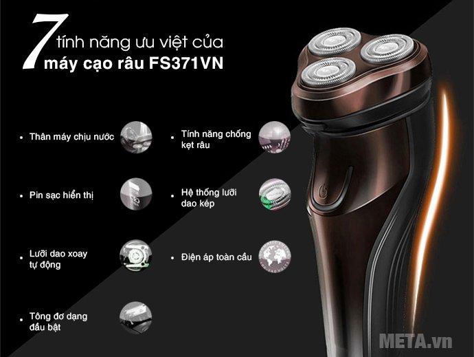 Máy cạo râu Flyco FS-371VN có 7 tính năng ưu việt: lưỡi dao xoay tự động, tông đơ, chịu nước...