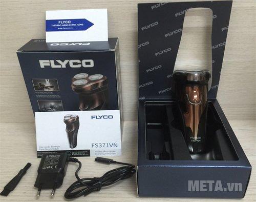 Máy cạo râu Flyco FS-371VN đi kèm hộp, chổi vệ sinh và dây sạc