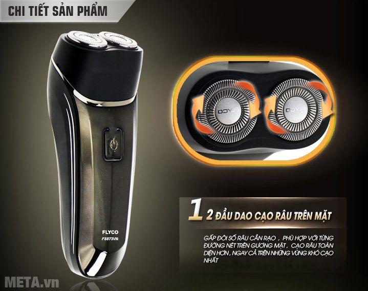 Máy cạo râu Flyco FS-873VN có 2 đầu cạo râu trên mặt