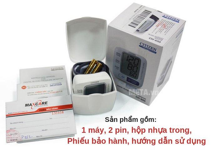 Citizen CH-650 gồm 1 máy, 2 pin, hộp nhựa bảo quản, phiếu bảo hành, hướng dẫn sử dụng, hộp bìa cứng